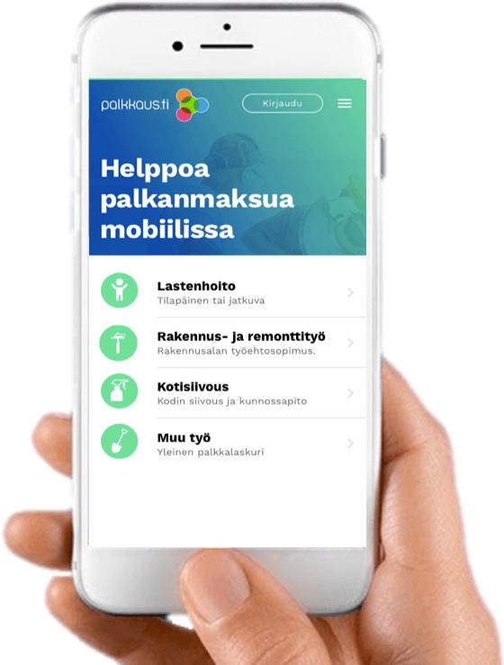 Nordea Siirto Palkkaus.fi mobiilisovellus käyttöliittymä